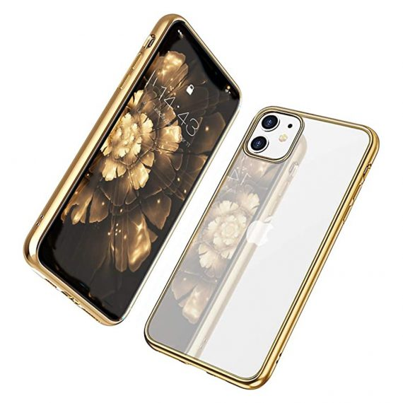 Etui Iphone 11 Transparentrze Ze Złota Ramka