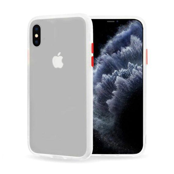 Etui do iPhone X/XS matowe białe z kolorowymi przyciskami