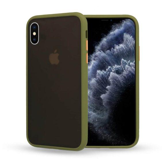 Etui do iPhone X/XS matowe oliwkowe z kolorowymi przyciskami