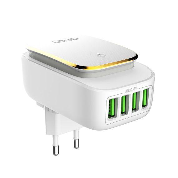 Ładowarka 4-portowa z lampką LED biała + kabel Lightning do iPhone