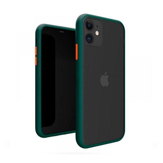 Etui do iPhone 11 zielone ochronne z kolorowymi przyciskami