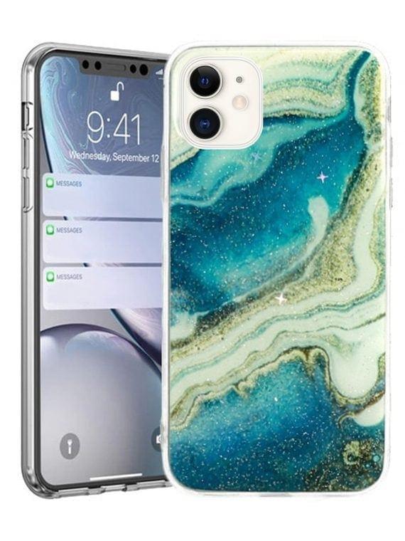 Etui Iphone 11 Marmur Niebieski Z Brokat
