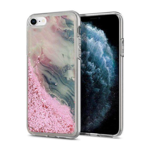 Etui do iPhone SE2020/8/7 silikonowe marmurkowe z płynnym brokatem różowe