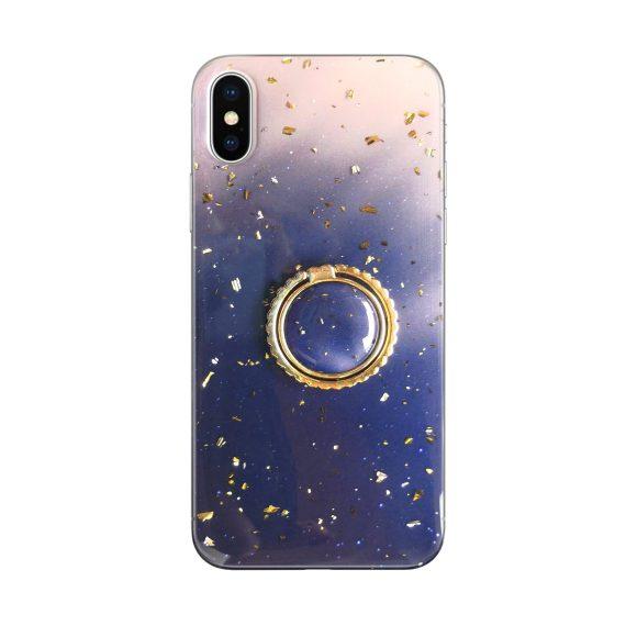 Etui do iPhone X/XS marmurkowe z uchwytem – granatowe ze złotem