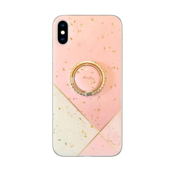Etui do iPhone X/XS marmurowe, luksusowe z uchwytem – pudrowy róż ze złotem