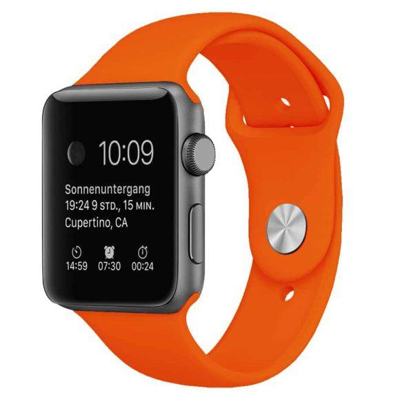Sportowy pasek silikonowy do zegarka Apple Watch 1,2,3,4 42/44mm – kolor pomarańczowy