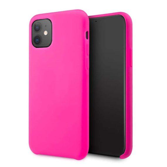 Etui do iPhone 11 silikonowe z mikrofibrą premium soft touch różowe