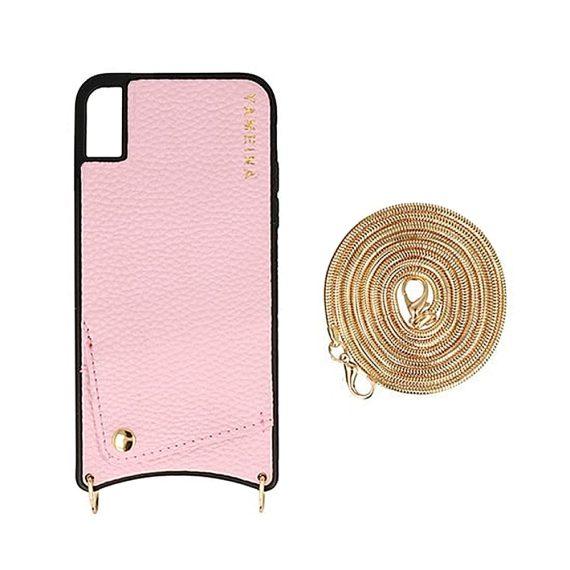 Etui do iPhone X/XS różowe skórzane cienkie torebka