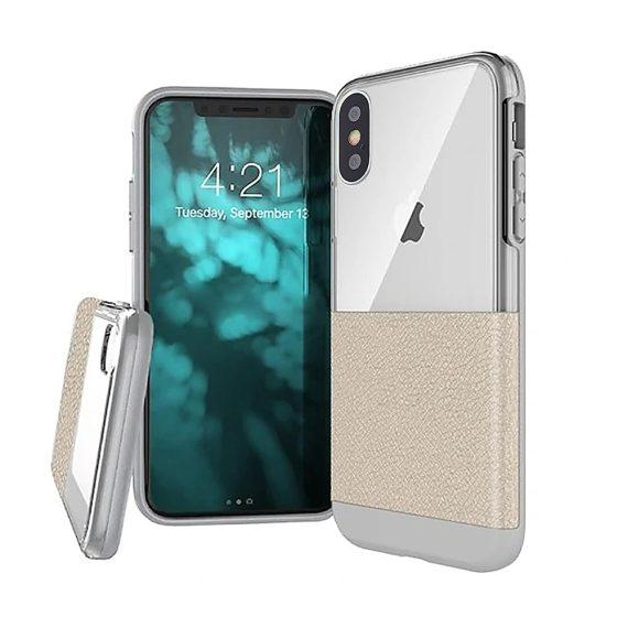 Etui do iPhone X/XS eleganckie skórzane białe