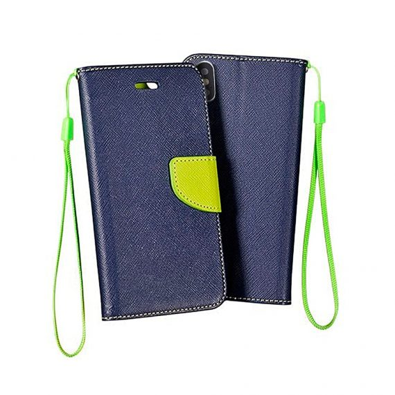 Etui do IPhone X/XS skórzane praktyczne granatowo-limonkowe
