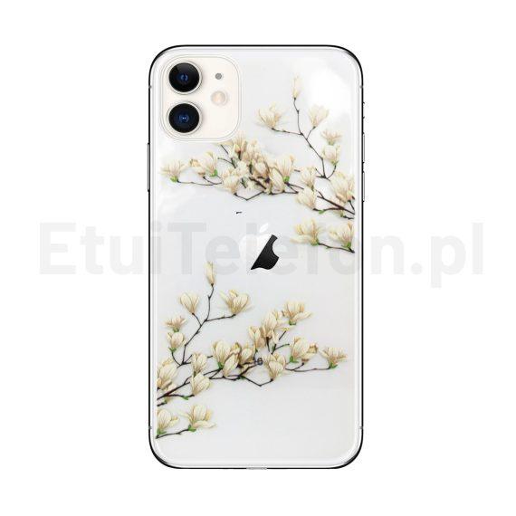 Etui do iPhone 11 silikonowe z kwiatami magnolii