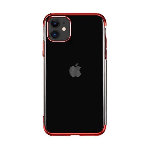 Etui do iPhone 11 transparentne premium z czerwoną chromowanąramką