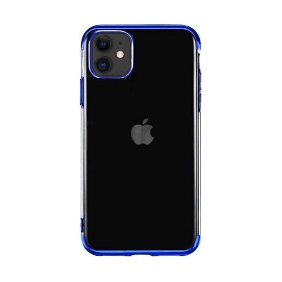Etui do iPhone 11 transparentne premium z niebieską chromowanąramką