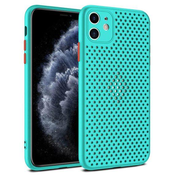 Etui do iPhone 11 oddychające nowoczesne turkusowe