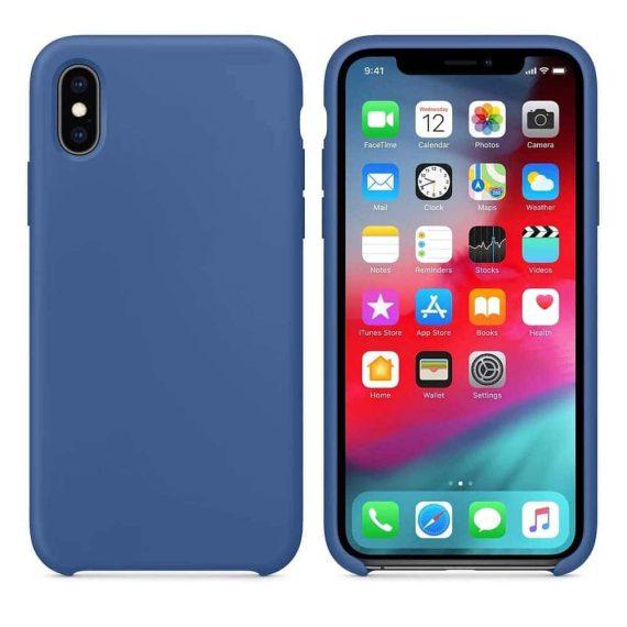Etui do iPhone X/XS silikonowe z mikrofibrą premium soft touch niebieskie