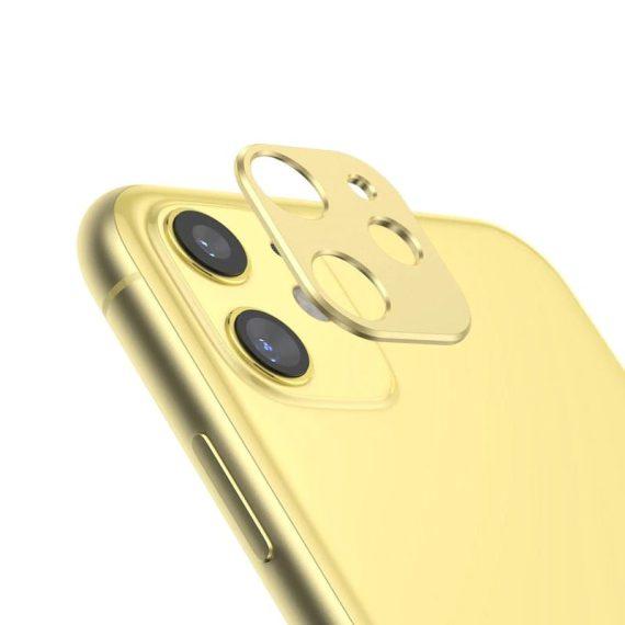 Osłona na kamerę do iPhone 11 metalowa żółta