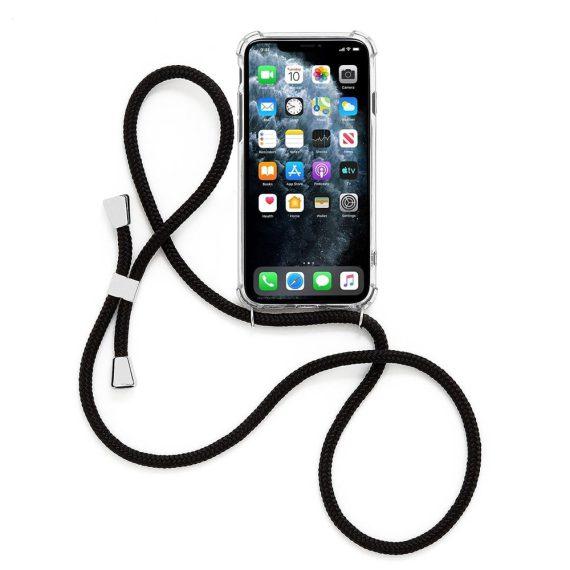 Etui do iPhone X/XS przeźroczyste nowoczesne z czarną smyczą