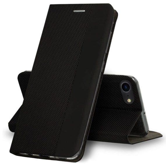 Etui do iPhone 7/8 eleganckie stylowe czarne z klapką