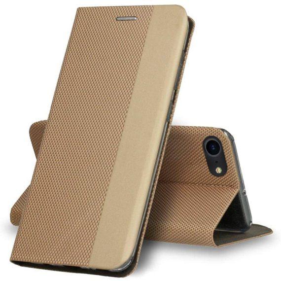 Etui do iPhone SE2020 eleganckie stylowe złote z klapką