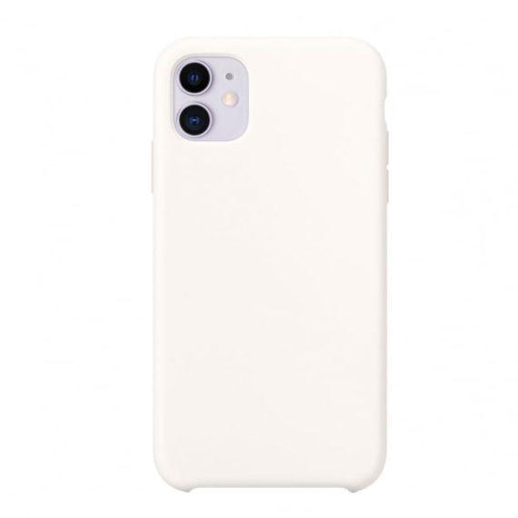 Etui do iPhone 11 silikonowe premium z mikrofibrą białe