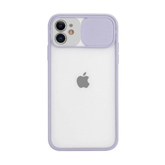 Etui do iPhone 11 z osłoną aparatu silikonowe jasnofioletowe liliowe