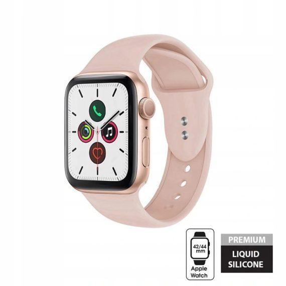 Sportowy pasek silikonowy do zegarka Apple Watch SE/6/5/4/3 42/44 mm – pudrowy róż