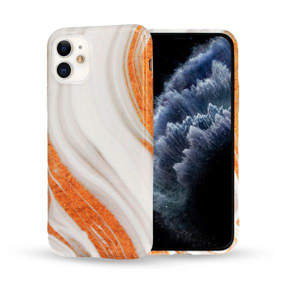 Etui do iPhone 12 Mini stylowe marmurkowe z piaskiem
