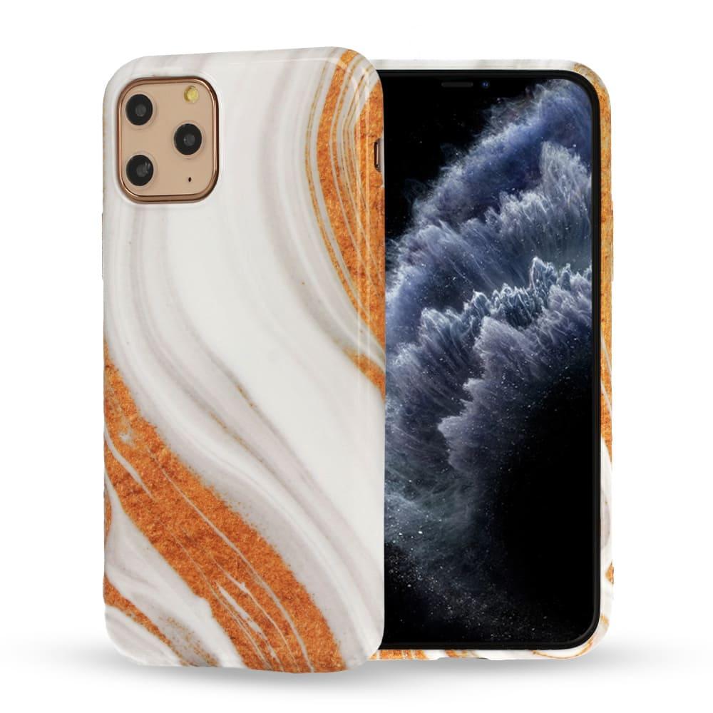 Etui do iPhone 6/6S marmurkowe biało-pomarańczowe