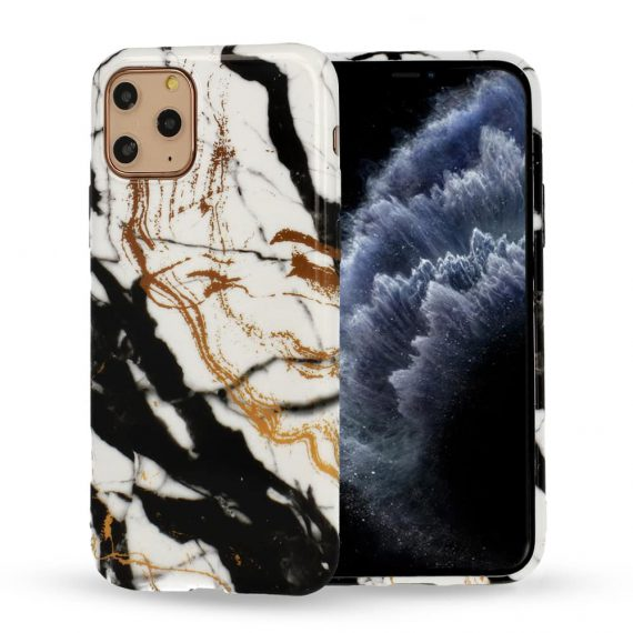 Etui do iPhone 6/6S oryginalne marmurkowe czarno-biało-złote