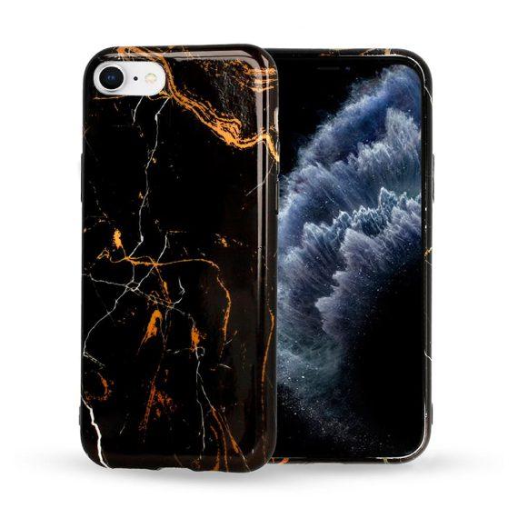 Etui do iPhone SE2020/8/7 marmurkowe czarno-złote