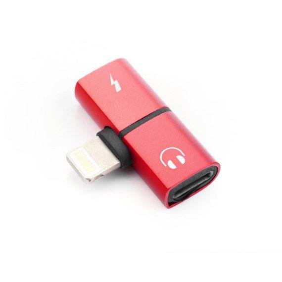 Rozdzielacz 2w1 do iPhone słuchawki + ładowarka czerwony