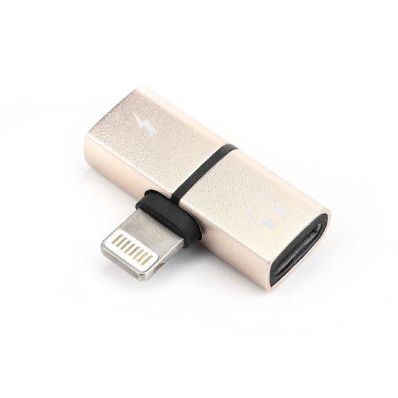 Rozdzielacz 2w1 do iPhone słuchawki + ładowarka złoty