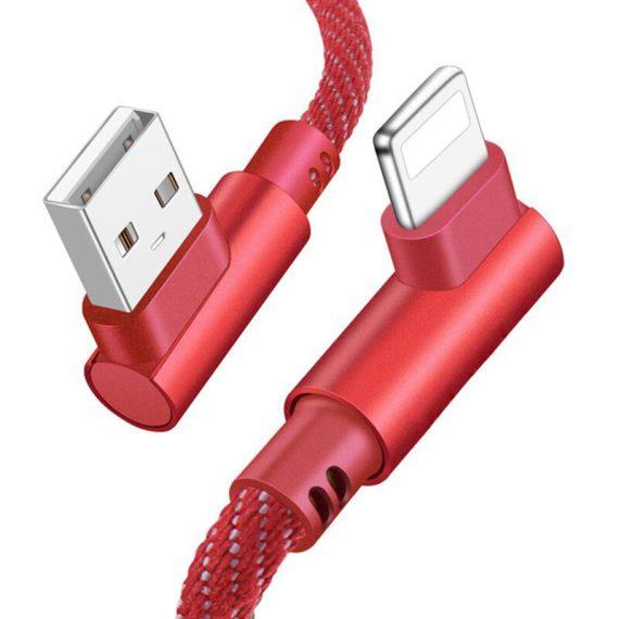 Kabel USB – Lightning 1 metr czerwony kątowy 90 stopni