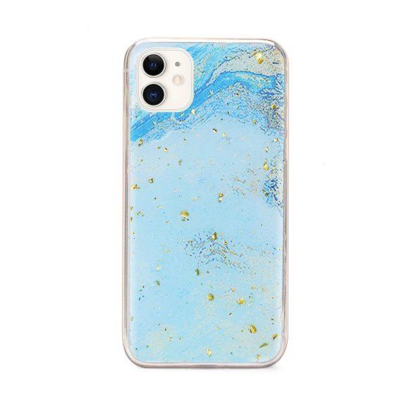 Etui do iPhone 11 błękitny marmurek morski ze złotymi drobinkami