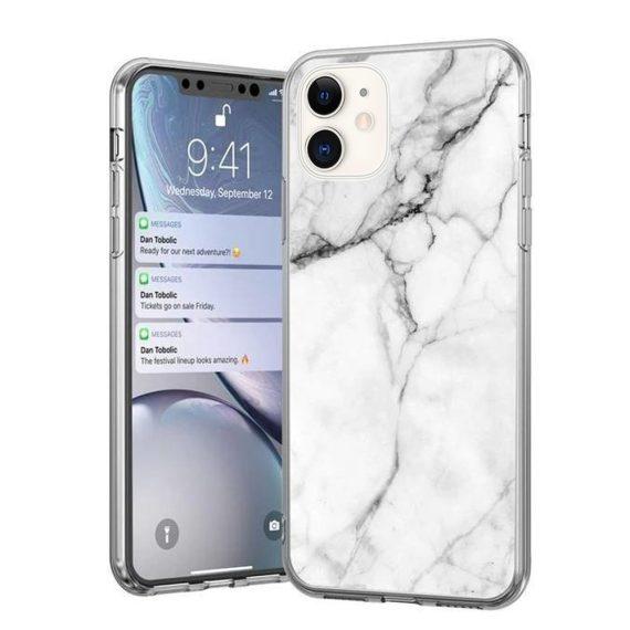 Iphone 11 Marble Biały Z Czarnymi Liniami