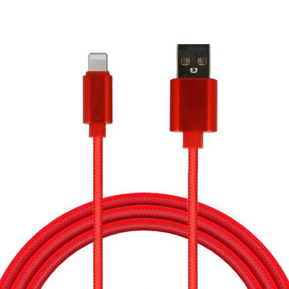 Kabel USB z metalowymi końcówkami 1 metr czerwony Lightning