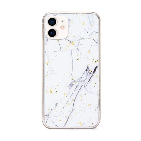 Etui do iPhone 12 Mini elegancki prawdziwy marmur ze złotymi drobinkami