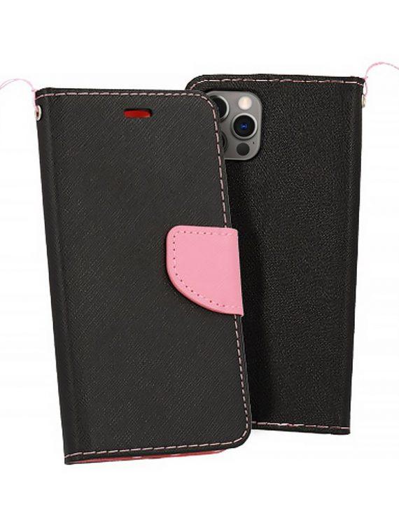 Etui Do Iphone 12 12 Pro Skorzane Ochronne Czarno Rozowe