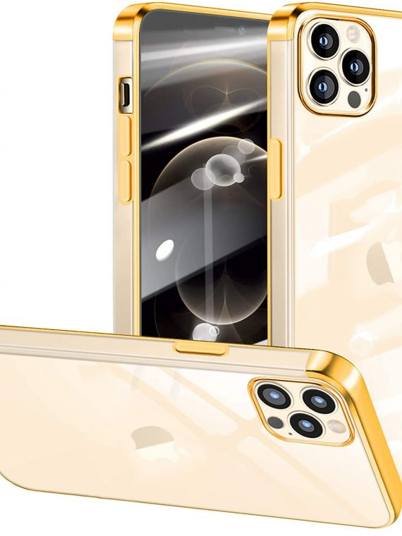 etui do iphone 12 pro max transparentne premium ze złotymi bokami