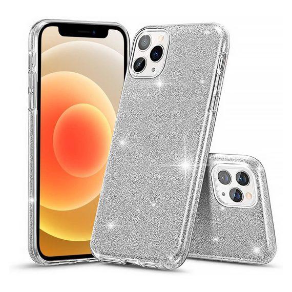 Etui do iPhone 12 Pro brokatowe silikonowe srebrne
