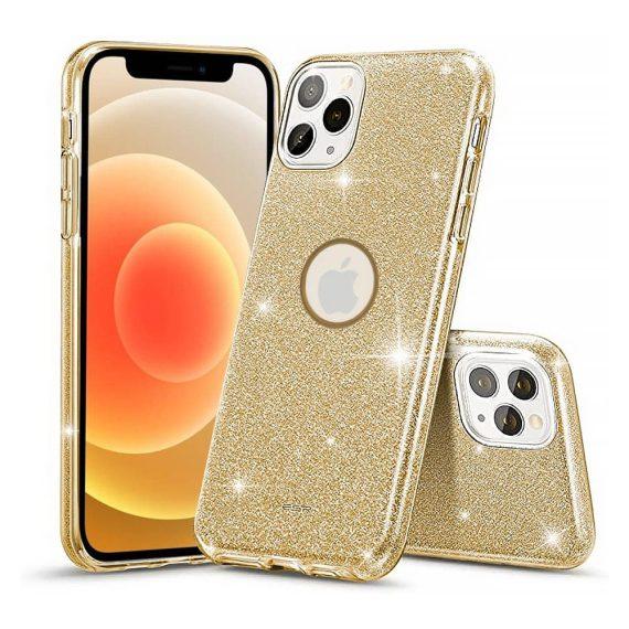 Etui do iPhone 12 Pro Max brokatowe silikonowe złote