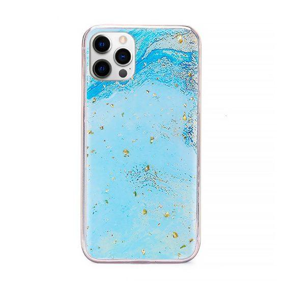 Etui do iPhone 12 Pro błękitny marmurek morski ze złotymi drobinkami