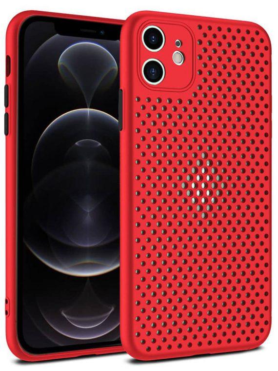 Etui Iphone 12 Oddychające Złoty Ciemno Czerwone 4