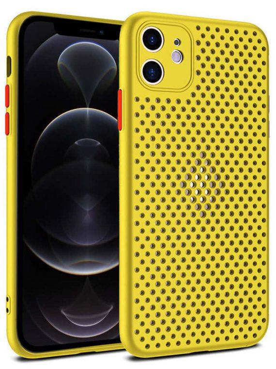Etui Iphone 12 Oddychające Zółty 4