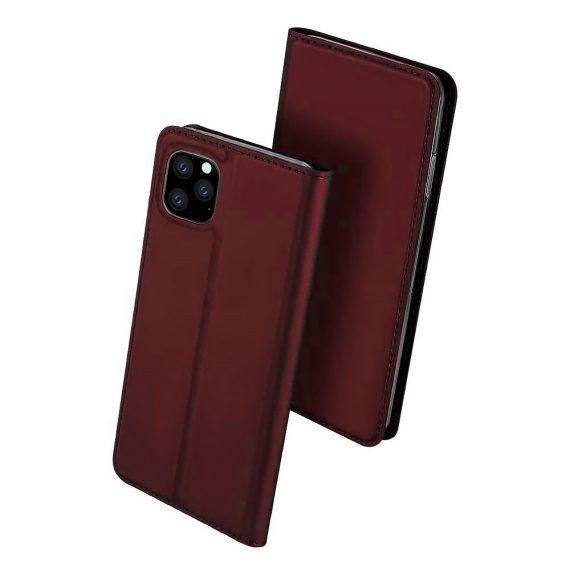 Etui do iPhone 12 Pro eleganckie stylowe burgundowe z magnetyczną klapką