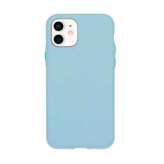 Etui do iPhone 12 Mini silikonowe elastyczne z kolorowymi przyciskami fancy niebieskie