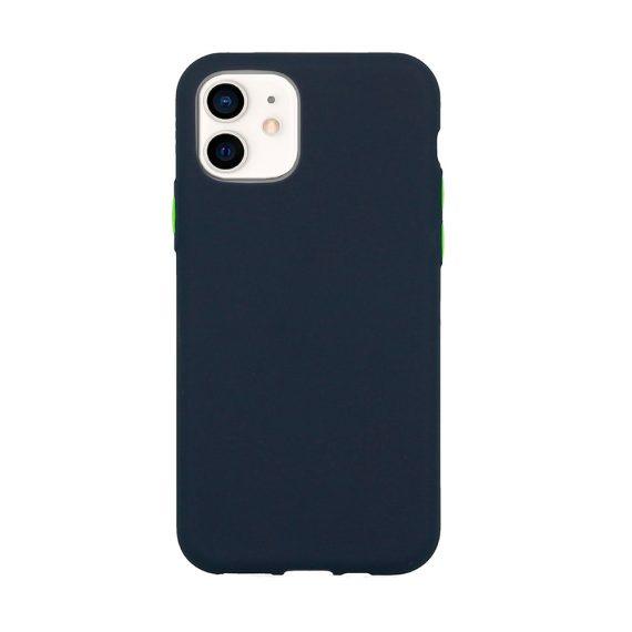 Etui do iPhone 12 Mini silikonowe elastyczne z kolorowymi przyciskami fancy granatowe