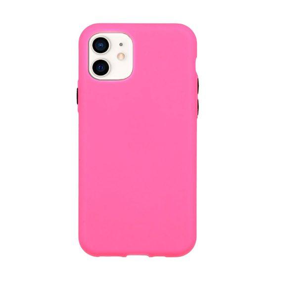 Etui do iPhone 12 Mini silikonowe elastyczne z kolorowymi przyciskami fancy różowe