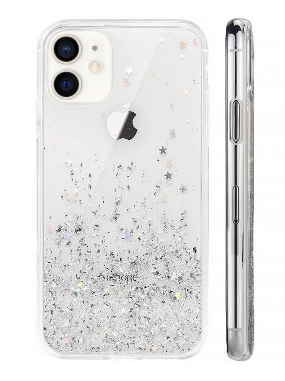 etui do iphone 12 przeźroczyste silikonowe z brokatem 1