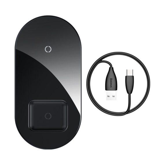 Bezprzewodowa ładowarka indukcyjna czarna 2w1 telefon + airpods